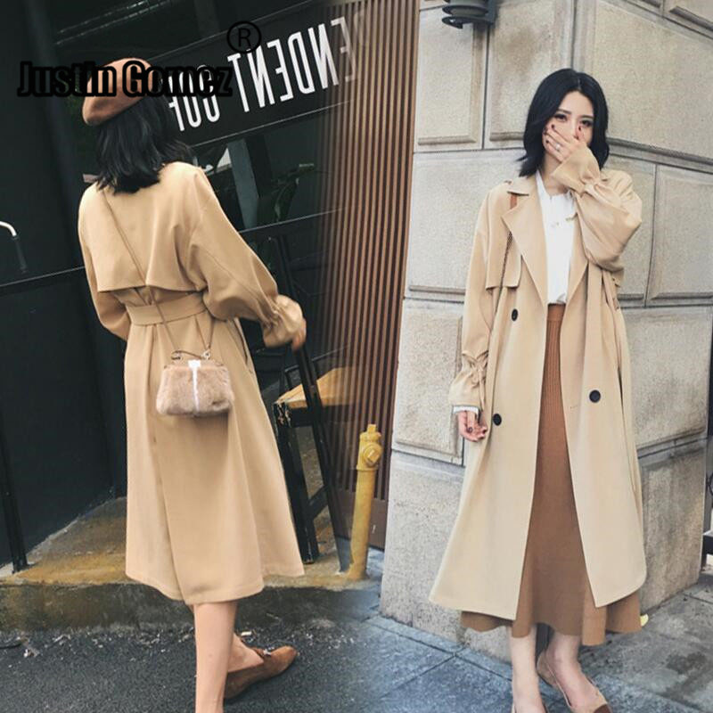 Womens Autumn Winter New 2019 Casual Lapel Wool Blend Double Breasted Pea Coat   Trench   Coat