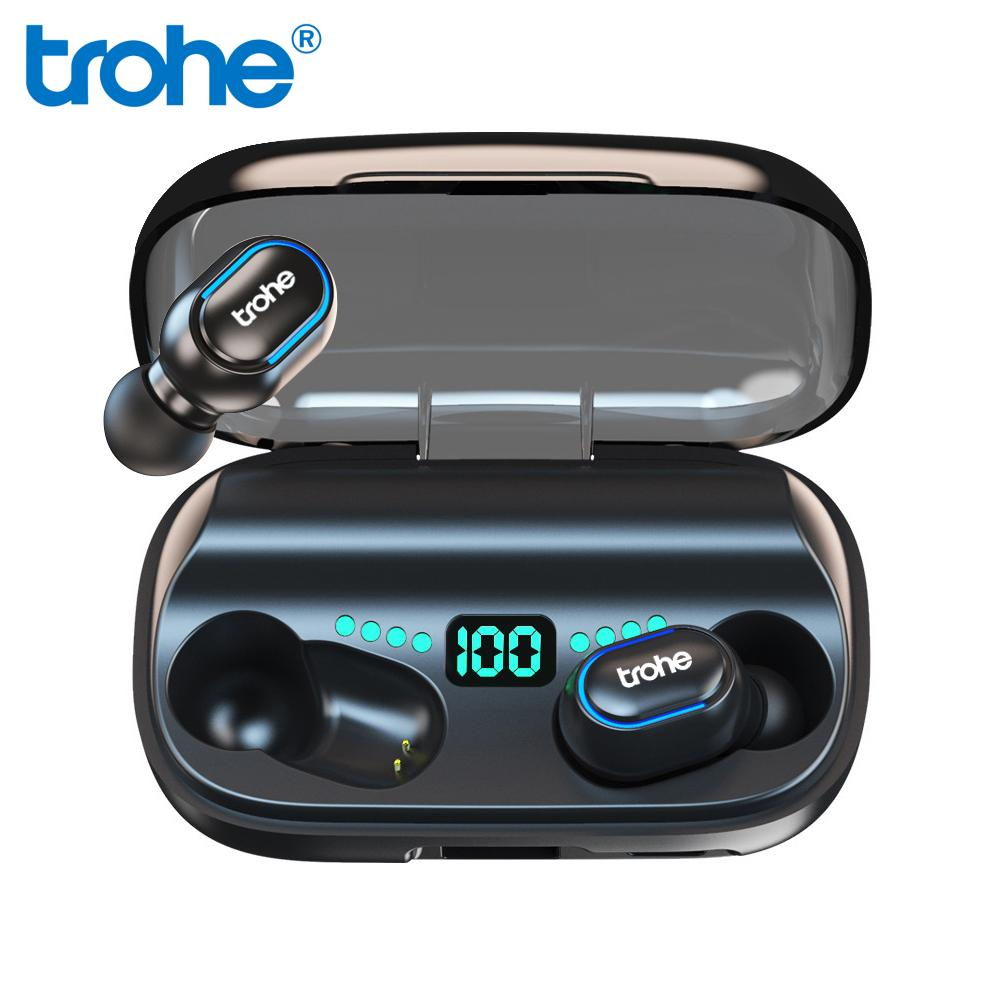 Trohe Wireless Bluetooth Earphones Tws 5 0 waterpoof 1800mAh Stereo HD Charging Box For Phone Power Bank Earbuds T6