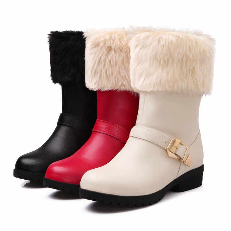 MoonMeek büyük boy 34-43 moda kış kar botları kadın yuvarlak ayak kayma yarım çizmeler med topuklar sıcak tutmak bayan botları 2020 yeni