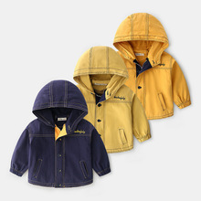 New Spring Kids Windbreaker Boys Jacket Girls Baby Outerwear Cotton Coats child solid color Hooded Children Clothing Clothes цена 2017