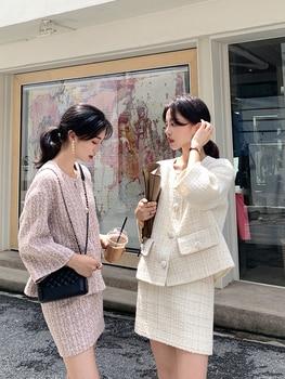 Autumn Winter Tweed 2 Piece Set Women Short Jacket Wool Coat+Bodycon Pencil Skirt Suit sets