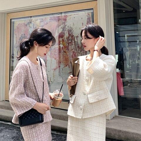 Autumn Winter Tweed 2 Piece Set Women Tweed Short Jacket Wool Coat+Bodycon Pencil Skirt Suit sets Pakistan