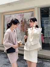 Conjunto de 2 piezas de Tweed de otoño invierno Chaqueta corta de lana + conjunto de falda de lápiz ajustado