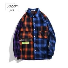 RLJT.JIN High Quality Harajuku Patchwork Plaid Fashion Casual Mens Work Shirt Colorful Long-sleeved Shirts Loose Japanese Style