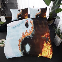 3D Tai Chi Bedding Sets fire print Duvet Cover with Pillowcases Twin full queen king size Bedclothes 3pcs white color цены