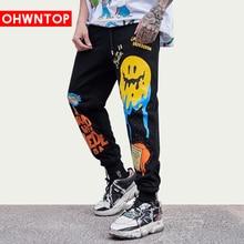 Хип-хоп бегунов брюки граффити пародия улыбка печать уличная Мужская одежда тренировочные брюки весна лето трек брюки мягкий брюки