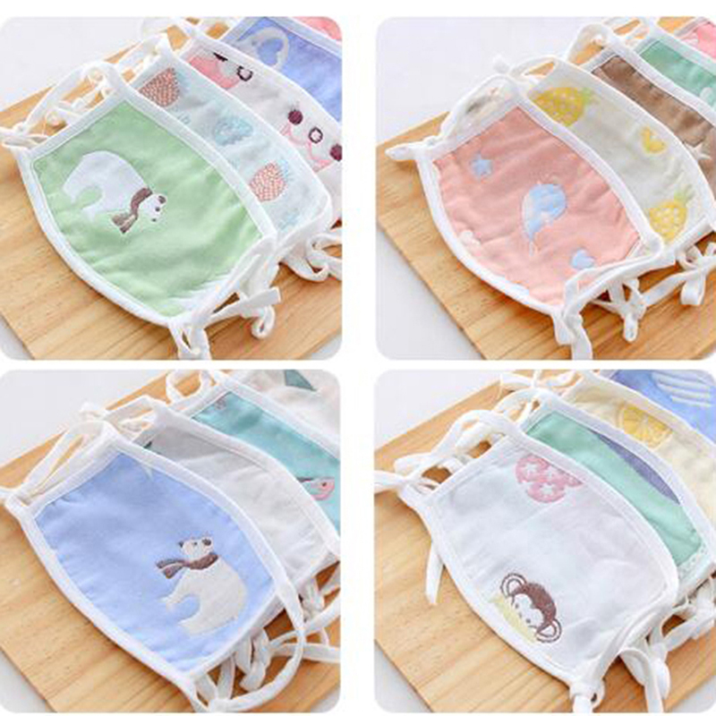 6 Layers Gauze Cartoon Mouth Face Mask For Kids Anti-Dust Disposable Fabric Masks With Respiration