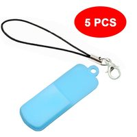 5PCS lot/Bulk Silicone USB Flash Case 50x12x5mm Memory Disk Protect Cover with Lanyard mini lobster Clasp for Pendrive Freeship