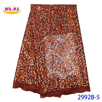 NIAI Latest French Tulle Lace Fabric 2019 High Quality Lace Embroidery African Net Lace Fabric For Women Wedding Dress XY2992B-5