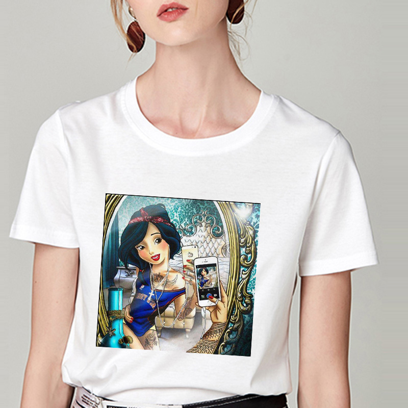 Summer Tshirt Snow White Fun Fashion Printed T-shirt Spoof Personality Harajuku Funny Casual Thin Section T Shirt Women Clothing 12