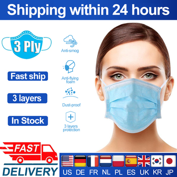 3 Layer filter Protective Face Mask disposable Anti-droplet Non-woven Face mouth Masks Blue Earloop Masks Mouth Mask respirator 50pcs children face mask planet printed kids masks disposable white face mask 3 layer non woven melt blown face mouth mask 04