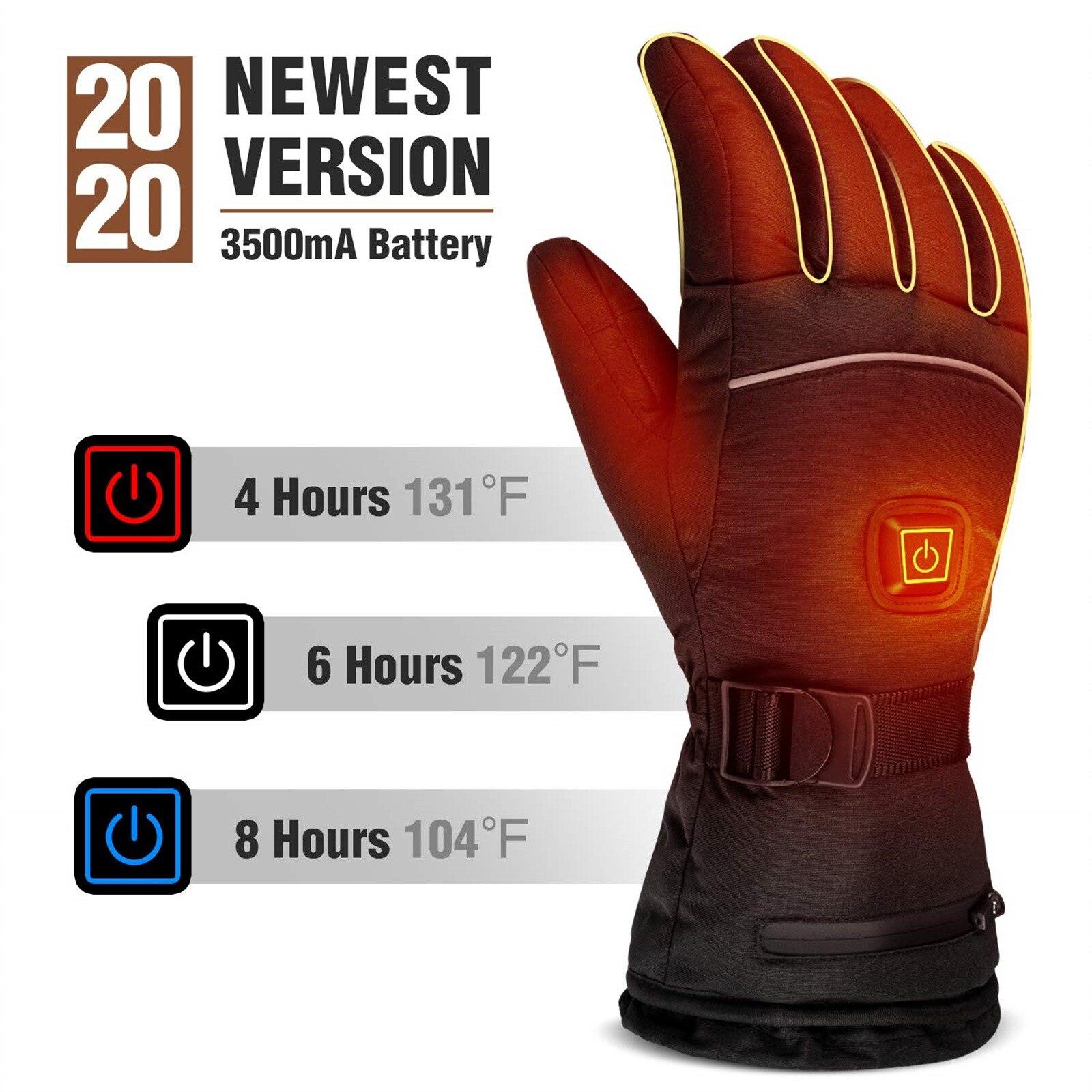 Зимние перчатки с электрическим подогревом, ветрозащитные велосипедные теплые перчатки с подогревом для сенсорных экранов, лыжные перчатк...