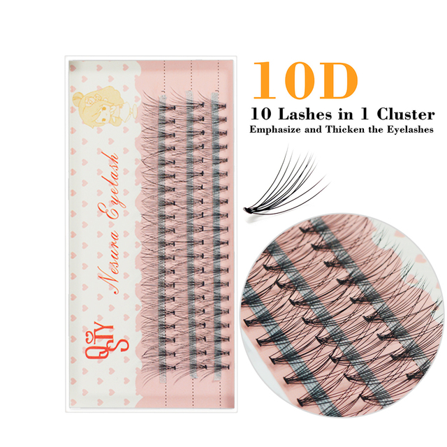 1box 0.07 10D False Eyelashes C Curl Faux Mink Eyelashes Extensions 60 bundles Strip Eyelashes Individual Lashes Natural Style 3