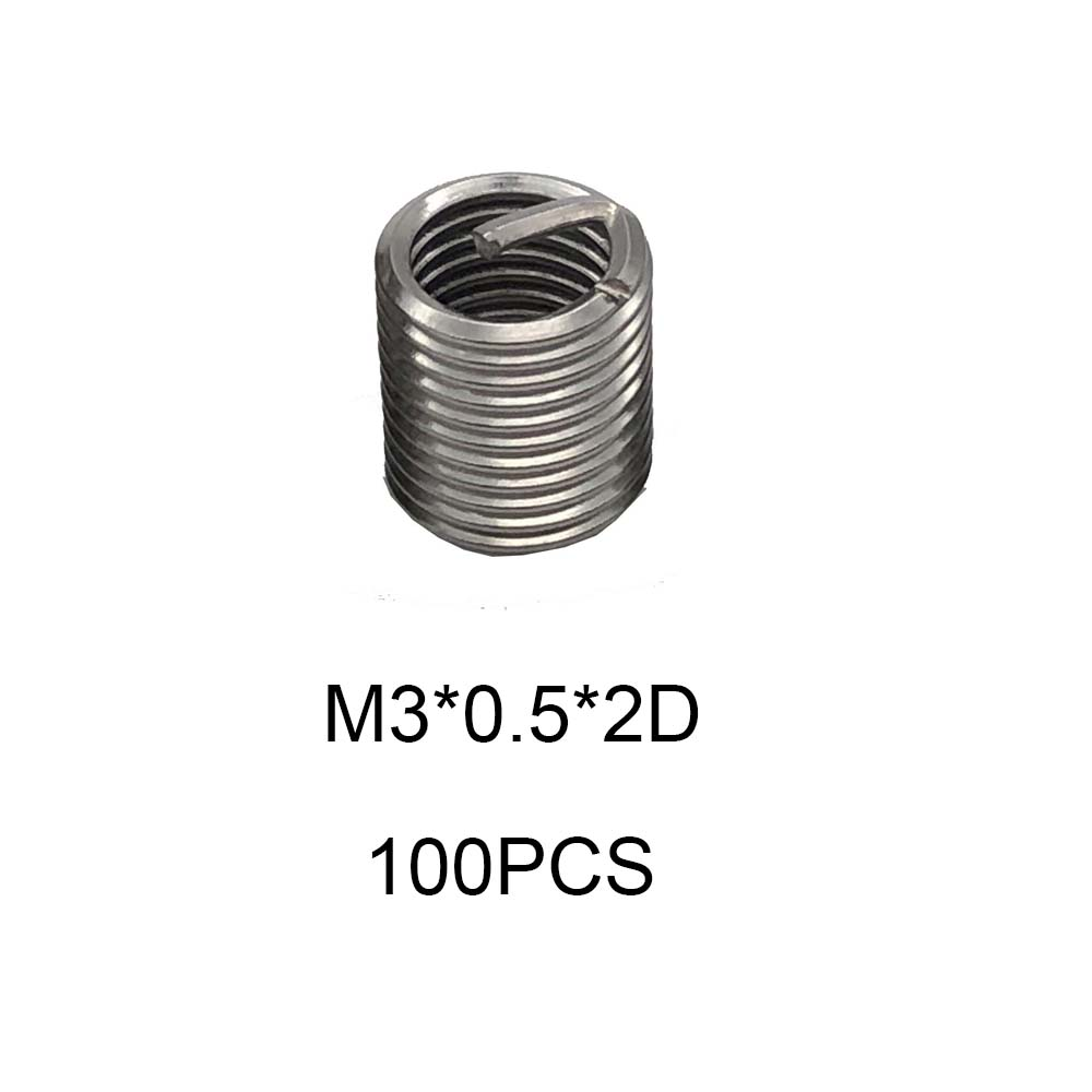 100pcs Threaded Insert M3*0.5*2D Thread Repair Kit Stainless Steel Wire Set For Hardware Repair Tools Bushing With Thread