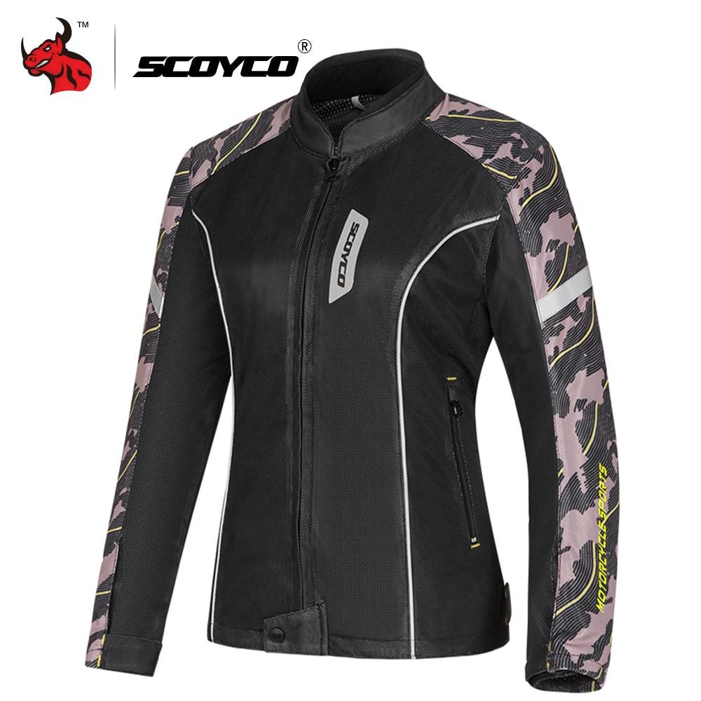 SCOYCO Women Motorcycle Jacket Summer Breathable Mesh Moto Jacket Protective Gear Jaqueta Motociclista Motorbike Clothing Black