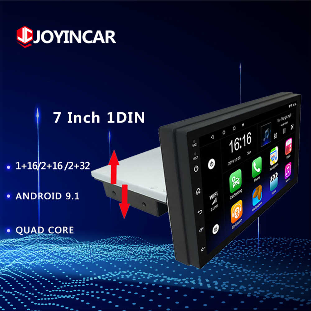 "7 ""Android 9.1 Car Multimedia Player 1 Din Stereo Radio dengan Down Adjustable Layar Wifi Bluetooth GPS Nav universal 2GB + 32GB"