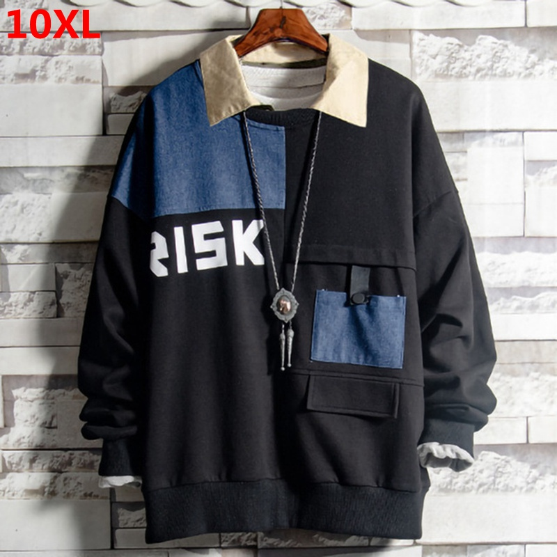 Super Size 300 Pounds Tide Plus Size Sweatshirt  Extra Large Size Stitching Loose Long-sleeved Shirt Sweatshirt 10XL 9XL