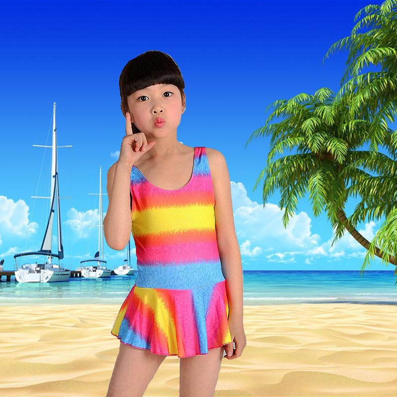 KID'S Swimwear Summer One-piece Printed Small CHILDREN'S 0-8-Year-Old GIRL'S Hot Springs Bathing Suit