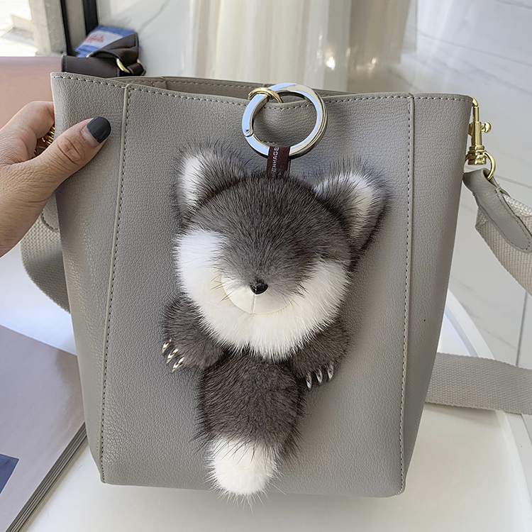 Luxury mink fur fox fur pendant with vivid metal steel claw Fox doll bag pendant  key chain
