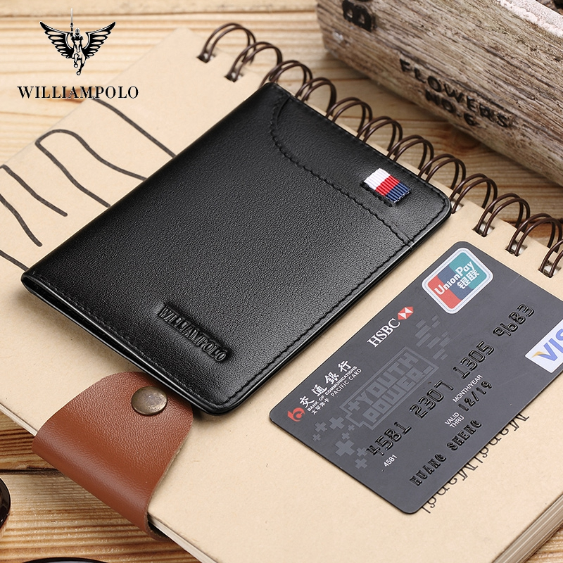 WILLIAMPOLO  Fashion Brand Men Wallets Genuine Leather Slim Bifold Credit Card Holder Male Pocket Purse Male Clutch PL296