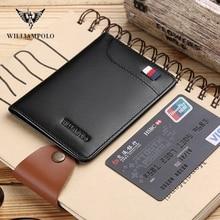 WILLIAMPOLO  fashion brand men wallets genuine leather slim bifold credit card holder male pocket purse male clutch PL296 цена 2017