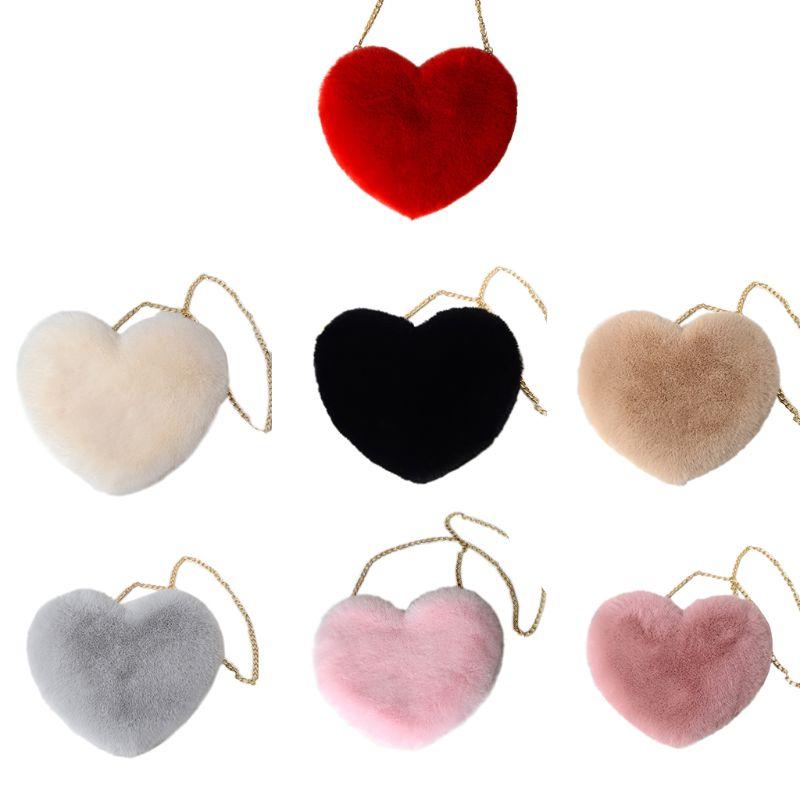 Fashion Women Heart Shape Faux Fur Crossbody Purse Lady Casual Chain Shoulder Messenger Bag Female Travel Shopping Tote Handbag
