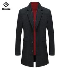Mirecoo Overcoat Men Corduroy Thick Scarf Collar Wool Casual Jacket Winter Trench Coat Mens Long Windbreak