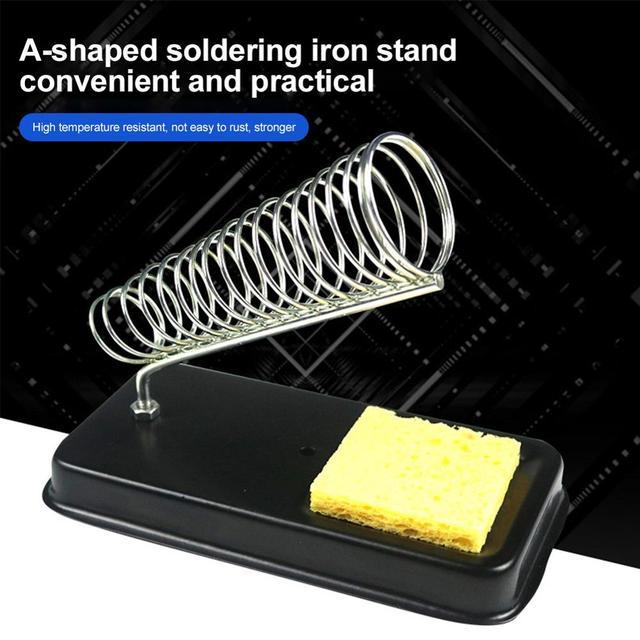 1pc Support de fer à souder électrique Support en métal Station de Support de soudage avec éponge de soudure outils de Kit de soudure de travail électrique