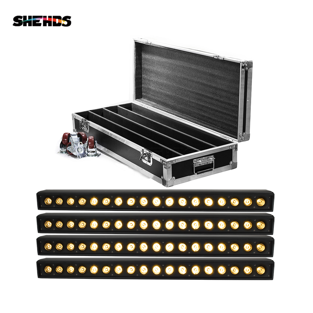 Flight Case With 4pcs 18x15W/18x12W/18x18W RGBWA UV 6in1 Led Bar Washer Light Stage Wall Wash Lamp For Event Wedding Nightclub