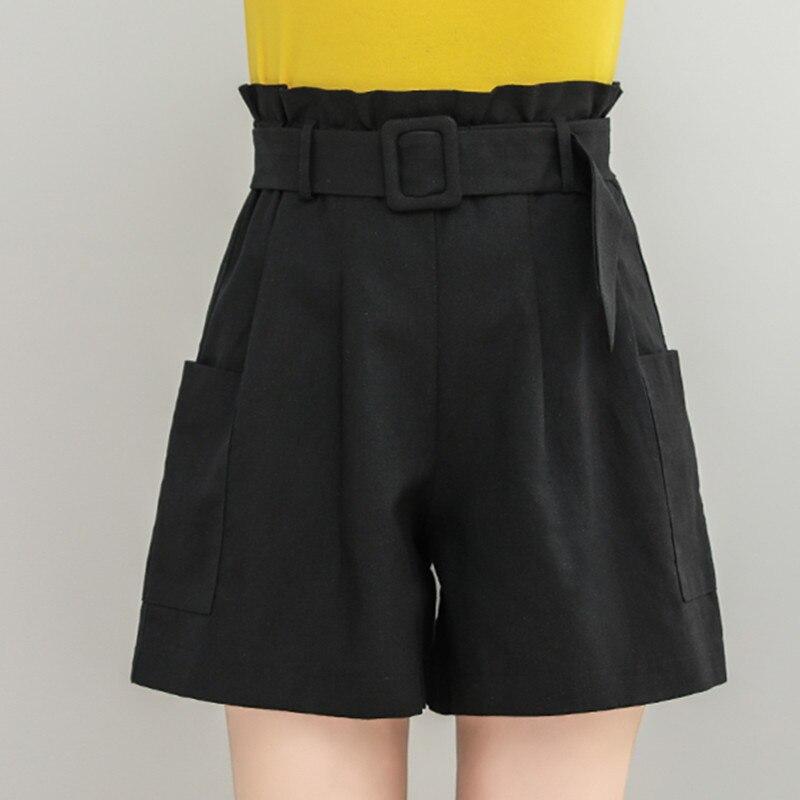 Women Shorts Casual Summer Shorts Skirts Elastic High Waist Shorts Cotton Linen Loose Shorts Wide Leg Shorts  Chores Para Mujer