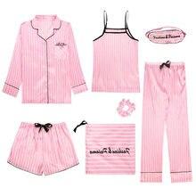 FallSweet kadınlar 7 adet pijama seti ipek bayanlar ev giyim turn-aşağı yaka seksi pijama