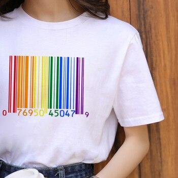 Футболка ZOGANKIN ЛГБТ в стиле Харадзюку, радужная женская футболка с рисунком гордости для геев, лесбиянок, мультфильм 90-х, графическая Повседн...