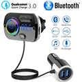 Sans fil Bluetooth 5.0 Kit mains libres voiture transmetteur FM lecteur MP3 avec QC3.0 Hifi musique jouer GPS double USB chargeur pour iphone