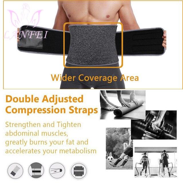 LANFEI Men Neoprene Waist Trainer Trimmer Belt Sauna Slimming Body Shaper Thermal Corset Sport Sweat Cincher Strap Weight Loss 2