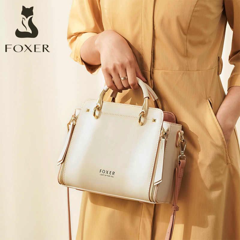 FOXER 여성 쇠가죽 채찍으로 치다 가죽 핸드백 고품질의 통근 메신저 가방 우아한 세련된 숙녀의 어깨 가방 여성 캐주얼 토트 백