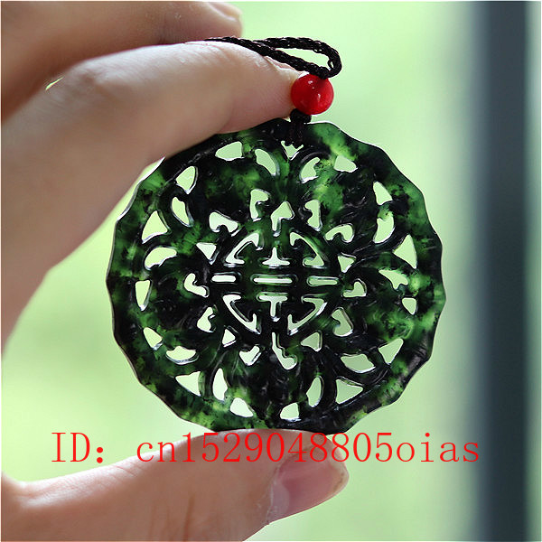 Natural Black Green Chinese Jade Bat Pendant Necklace Obsidian Charm Jewelry Double-sided Hollow Carved Amulet Gifts For Women