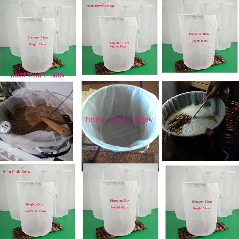 2pcs Brew Mesh Bag W// String Food Grade Wine Beer HomeBrew Bucket Filter 20*30cm