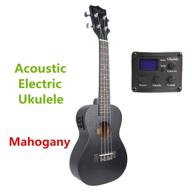 Soprano Concert ténor acoustique électrique ukulélé 21 23 26 pouces Mini guitare Ukelele noir acajou Guitarra Plug-in pick up Uke