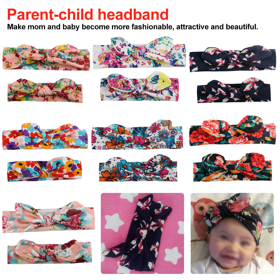 2PCS/Set Mom Mother & Daughter Kids Baby Girl Bow Headband Hair Band Accessories Parent-Child Family Headwear