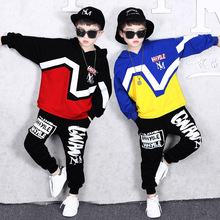 2019 Autumn New Fashion Childrens Hip-hop Clothing Suit Boys Clothes Kids Cotton Long Sleeve Spell Color Hooded Sweater+Pants