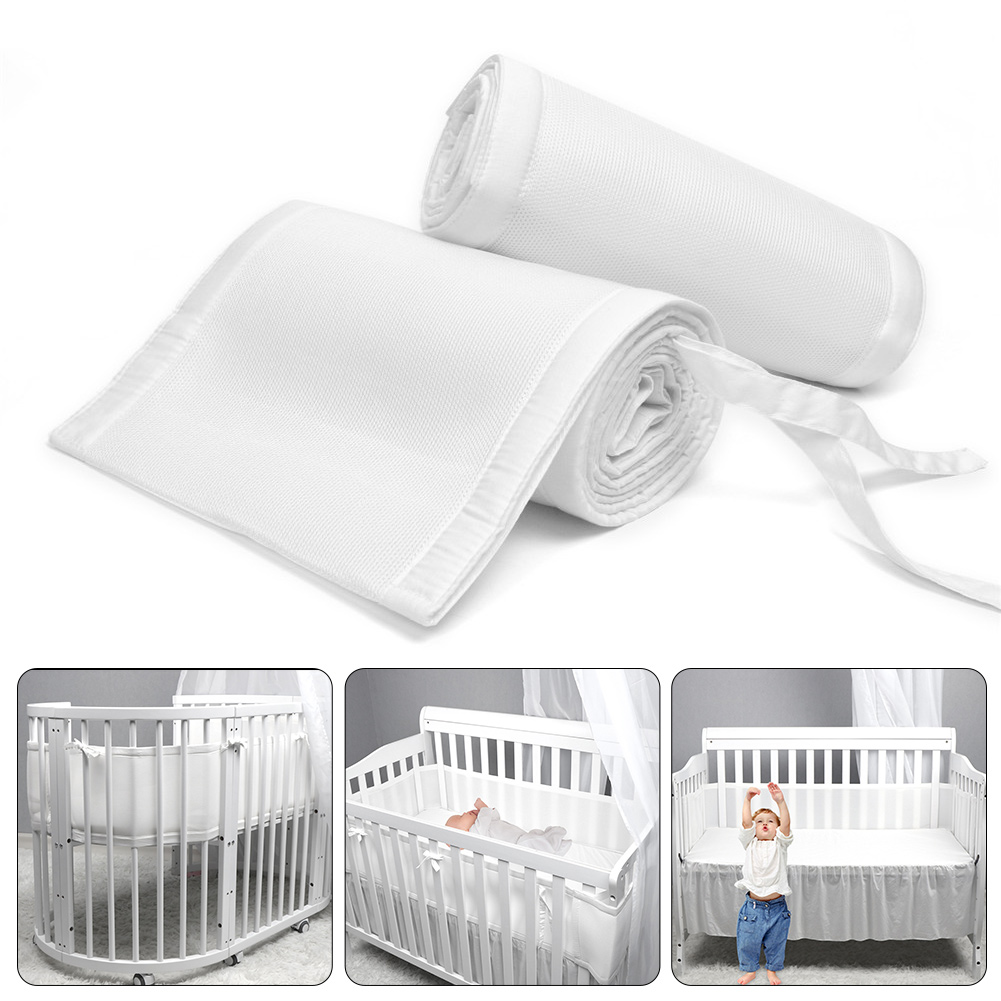 2pcs Baby Crib Bumper Breathable Cotton Anti-collision Crib Liner Bed Fence For Sleeping