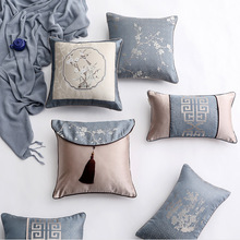 New Chinese Jacquard Pillow Cover Light Luxury Weave Birds And Flowers Pattern Cushion Home Office Soft Decoration 1 PC