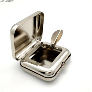 Image 1 - New Arrival Smallsweet Stainless Steel Square Pocket Ashtray metal Ash Tray Pocket Ashtrays With Lids Portable Ashtray
