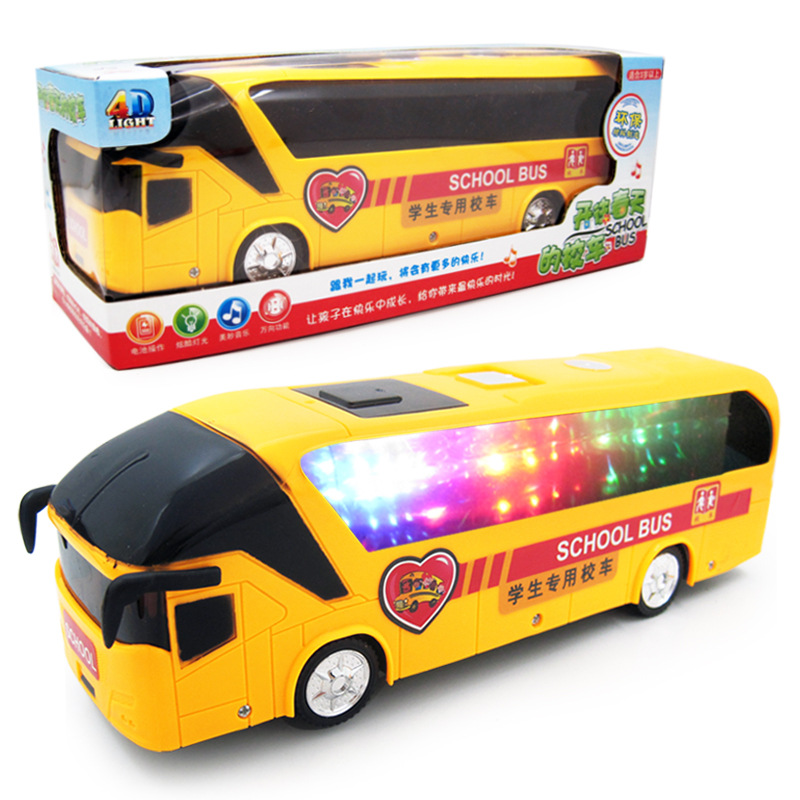 Children Toy Bus Car Model Toy Electric Universal Light Included Light Music Toy Car Manufacturers Direct Selling