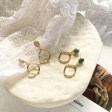 Fashion Circle Drop Dangle Earrings Green Enamel Golden Sweet Jewelry Vintage Statement For Girls Women Gifts