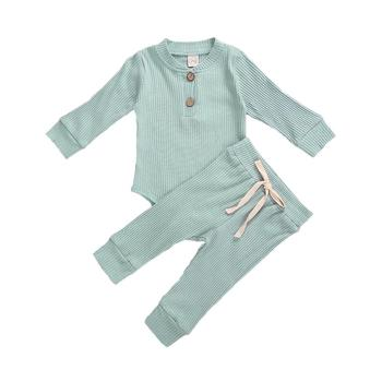 Baby Solid Clothes Long Sleeve Romper and Pants Set 4