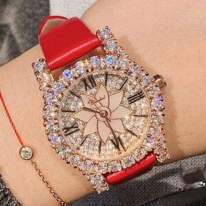 Reloj de marca de lujo con diamantes rosas para mujer, relojes de vestir de cuero auténtico para mujer, relojes de cuarzo de cristal para mujer, gran oferta de envío 2020