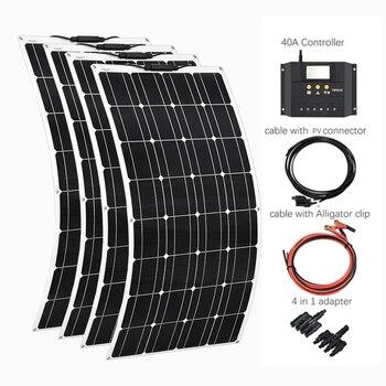 4*100W paneles solares flexibles 100 vatios módulo Solar cargador para RV/barco 400W panel de alimentación Solar sistema controlador