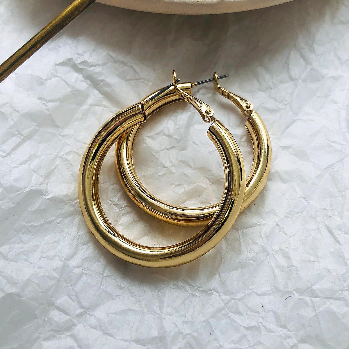 Женские серьги-кольца AENSOA, большие серьги золотого цвета с широким металлическим круглым кольцом, Винтажные Ювелирные изделия в подарок