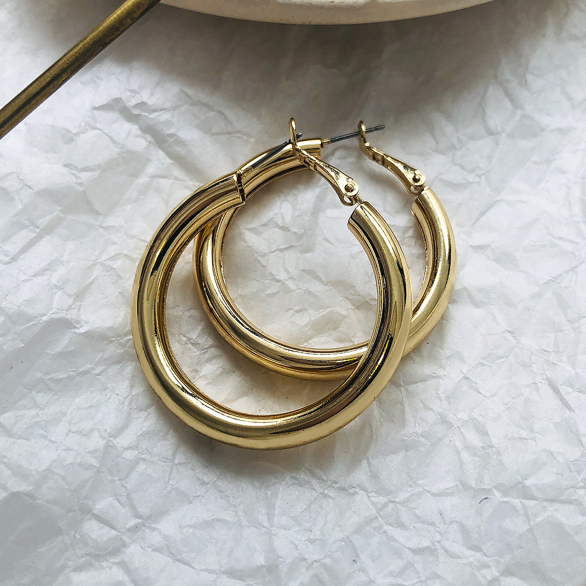 Oversize Hoop Earrings For Women Wide Big Metal Round Circle Statement Earrings